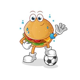 Burger giocando a calcio illustrazione. carattere