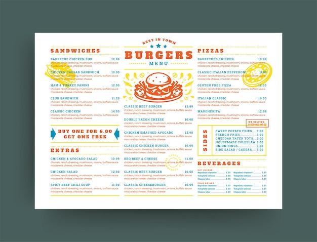 Brochure di progettazione del layout del menu del ristorante di hamburger o illustrazione vettoriale del modello di volantino alimentare