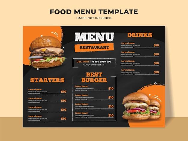 Modello di menu del ristorante hamburger