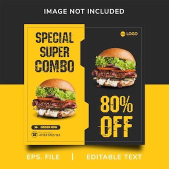 Promozione sui social media di vendita di hamburger e design del modello di banner post di instagram