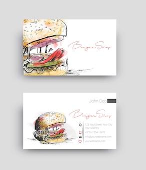 Illustrazione di vettore del modello di progettazione del biglietto da visita del negozio di hamburger