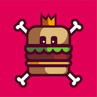 Logo della mascotte del cranio dell'hamburger