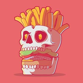 Burger skull con illustrazione di patatine fritte concetto di design del marchio orrore fast food
