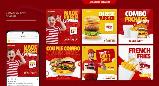 Burger modello di post di feed di social media