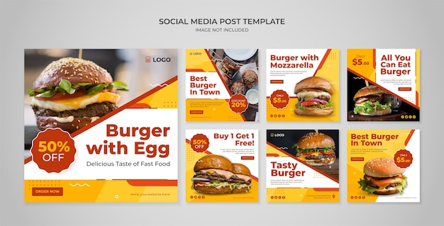 Modello di post instagram social media hamburger
