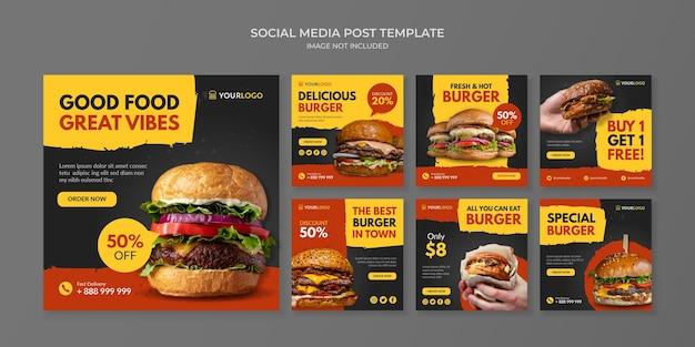 Modello di post sui social media per hamburger per ristorante e caffetteria fast food