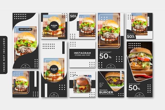 Modello di post social social burger, banner quadrato o volantino
