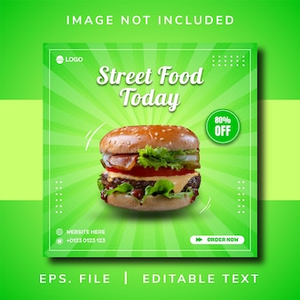 Burger street food promozione sui social media e design post banner instagram
