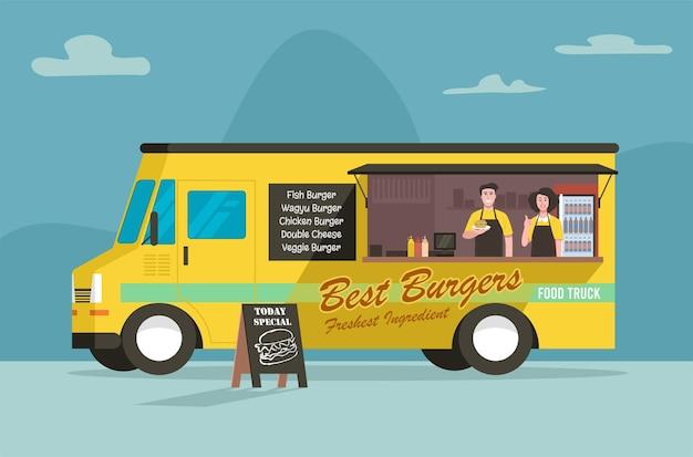 Camion di cibo di strada di hamburger, stile piatto.