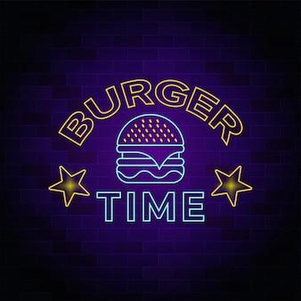 Insegna al neon dell'hotel e del ristorante di burger time - insegna al neon
