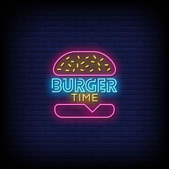Burger time testo di insegne al neon in stile