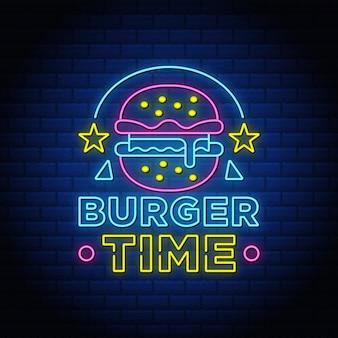 Testo in stile insegne al neon di tempo di hamburger.
