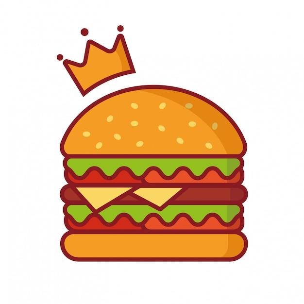 Illustrazione di vettore dell'hamburger, illustrazione semplice dell'elemento, hamburger di re con il vettore di logo della corona