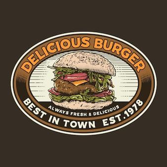 Illustrazione grafica pubblicitaria vintage di hamburger