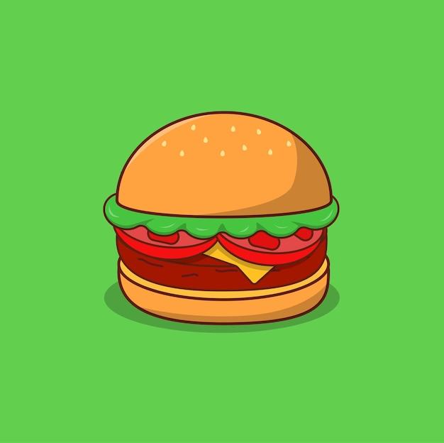 Hamburger con formaggio pomodoro e insalata