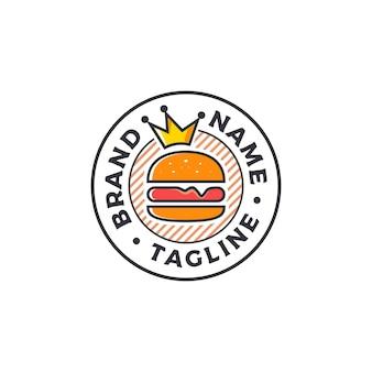 Hamburger con l'illustrazione di vettore di progettazione di logo del distintivo della corona
