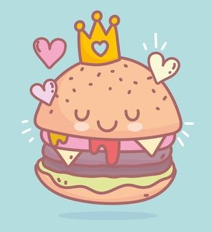 Hamburger con cibo personaggio dei cartoni animati menu ristorante corona carino