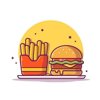 Hamburger con patatine fritte icona illustrazione. concetto dell'icona degli alimenti a rapida preparazione isolato. stile cartone animato piatto