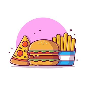 Hamburger con patatine fritte e pizza icona illustrazione. concetto dell'icona degli alimenti a rapida preparazione isolato. stile cartone animato piatto