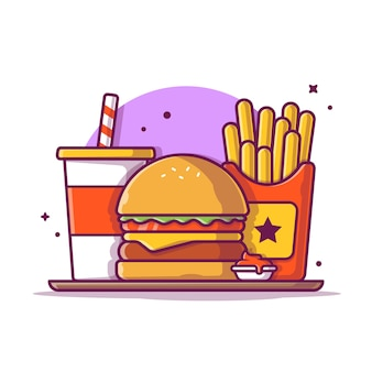 Hamburger con patatine fritte e illustrazione icona soda. concetto dell'icona degli alimenti a rapida preparazione isolato. stile cartone animato piatto