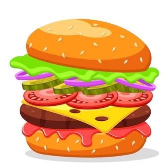 Hamburger con verdure fritte cotoletta e foglie di cavolo close-up su uno sfondo bianco.