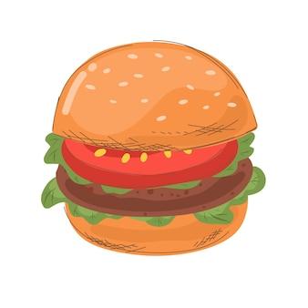 Hamburger con lattuga e pomodoro in stile cartone animato con linea di tratteggio illustrazione vettoriale