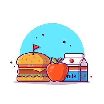 Hamburger con illustrazione di icona di latte e mela. concetto dell'icona della prima colazione isolato. stile cartone animato piatto