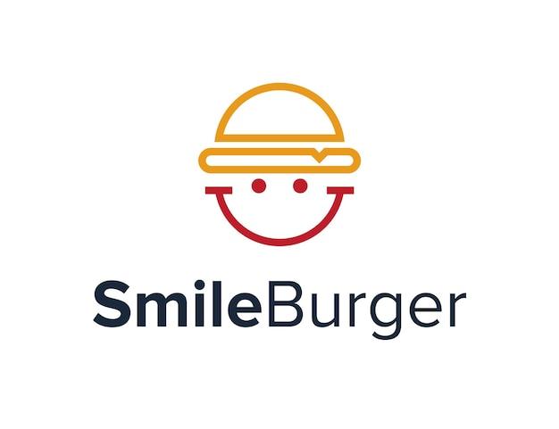Hamburger con sorriso faccia felice contorno semplice design creativo geometrico elegante moderno logo