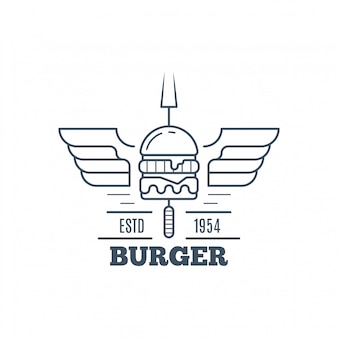 Hamburger badge design, linea arte illustrazione vettoriale