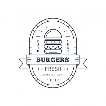 Hamburger badge design, linea arte illustrazione vettoriale