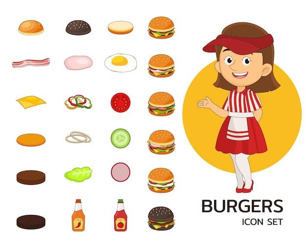 Icone piane di concetto di hamburger. Vettore Premium