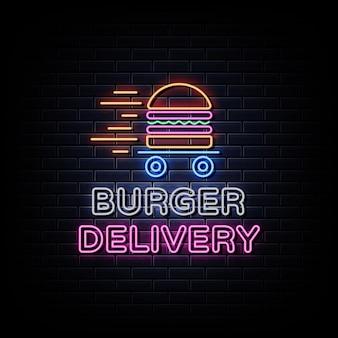 Insegna al neon di consegna di hamburger.