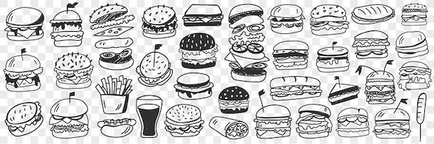 Hamburger fast food doodle insieme illustrazione