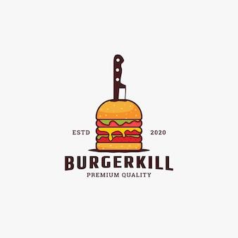 Illustrazione del modello di progettazione di logo attaccata hamburger e coltelli