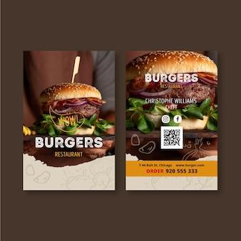 Biglietto da visita fronte-retro del ristorante hamburger