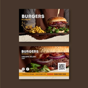 Biglietto da visita orizzontale ristorante hamburger
