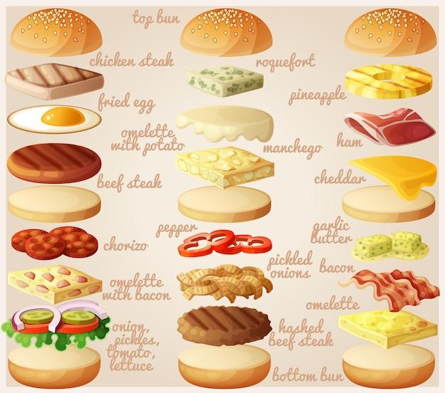 Hamburger set ingredienti panini formaggio pancetta pomodoro cipolla lattuga cetriolo