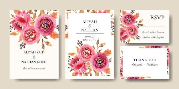 Modello di biglietto d'invito per matrimonio con bouquet floreale ad acquerello bordeaux