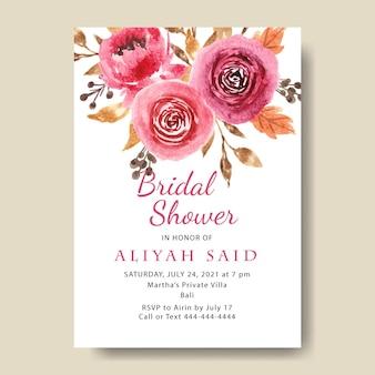 Modello di biglietto d'invito per addio al nubilato con fiori ad acquerello bordeaux stampabile