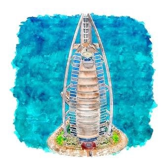 Burj al arab dubai acquerello schizzo disegnato a mano illustrazione