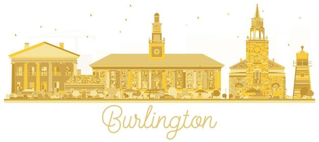 Siluetta dorata dell'orizzonte di burlington city. illustrazione vettoriale. concetto di viaggio d'affari. burlington cityscape con punti di riferimento.