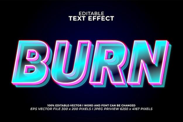 Brucia l'effetto di testo 3d