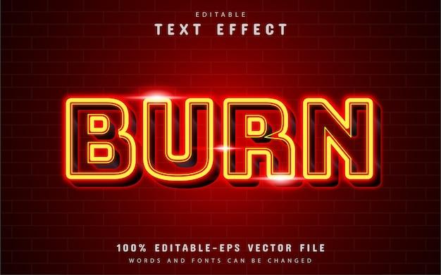 Brucia l'effetto di testo al neon