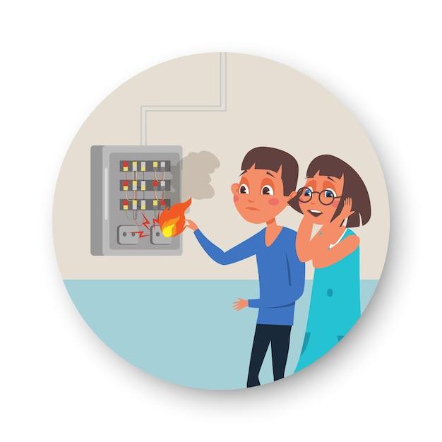 Quadro elettrico appartamento in fiamme, ragazza e ragazzo premendo i pulsanti del quadro elettrico di tensione