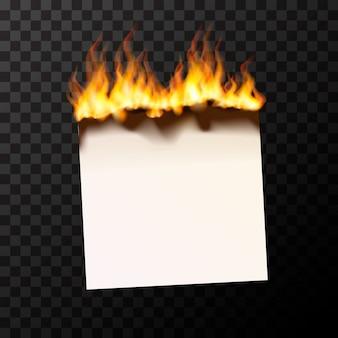 Bruciante pezzo di carta bianco brillante con fiamme di fuoco