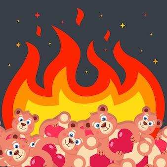 Bruciare un mazzo di orsacchiotti con i cuori. distruzione di giocattoli. illustrazione vettoriale piatta