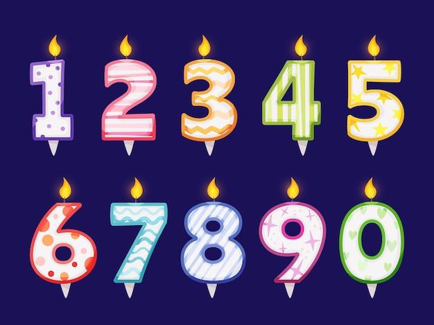 Numeri di candele accese per la decorazione della torta, festa di compleanno, celebrazione dell'anniversario dei bambini, set vettoriale