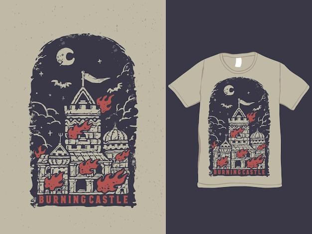 Disegno della maglietta stile tatuaggio vintage castello in fiamme