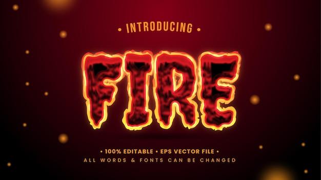 Effetto di stile di testo 3d fuoco ardente. stile di testo dell'illustratore modificabile.
