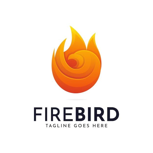 Modello di logo dell'uccello di fuoco ardente